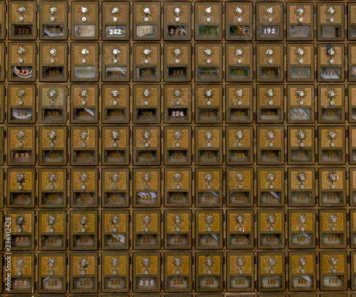 Vintage Post Office Boxes Wallpaper Mural