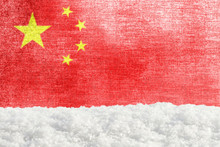 Winter Grunge Background With Snowdrift And Chinese Flag In The Backdrop