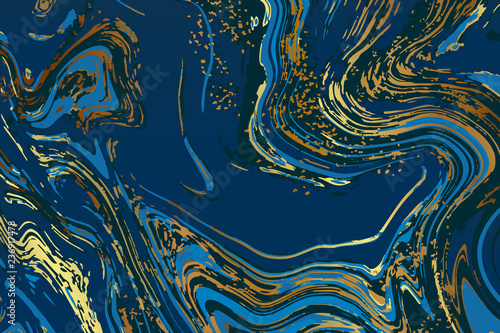 Valokuva  Luxury Blue and navy blue Marbling Background texture Vector template