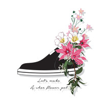 Beautiful And Trendy Sneaker Used As Blooming Flower Pots In Vector Illustration