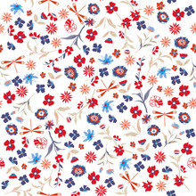 Beautiful Liberty Seamless Floral Pattern. Background In Small Colorful Flowers