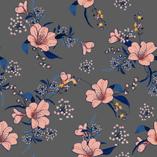 Beautiful And Trendy Garden Soft Pink Flower With Blue Leaves Seamless Pattern Vector Fofashion Fabric And All Prints