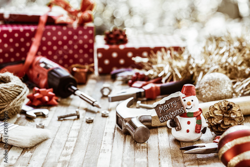 Canvastavla  Merry Christmas and Happy New Years Handy Constrcution Tools background concept