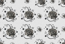 Black White Rose Pattern On White Background, Seamless Background.