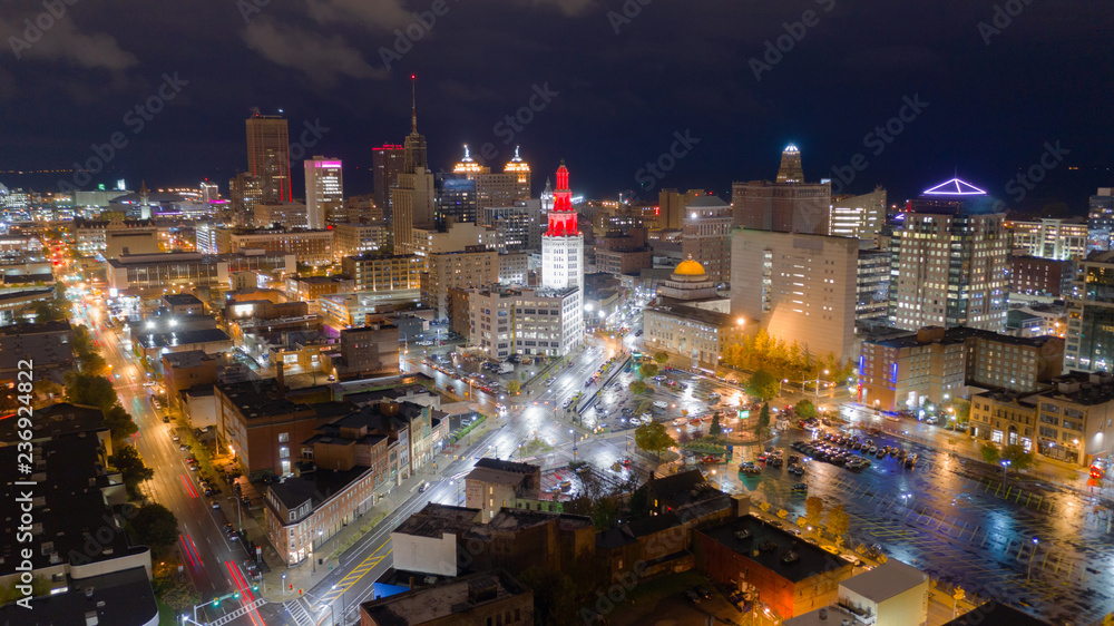 Fototapety, obrazy: Before Sunrise Night Time Buffalo New York Downtown City Skyline