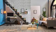 Decorative Home Interior Concept, Modern Home Decoration Home Interior Detail And Grey Sofa.