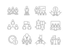 Team Building Icons. Work Group Of Business People Help Together Coworking Participation Vector Thin Line Symbols Isolated. Vector Business Team, Cooperation And Collaborate Illustration