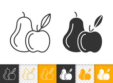 Pear And Apple Fruit Simple Black Line Vector Icon