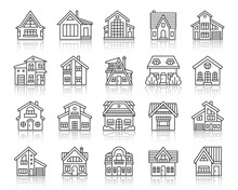 House Cottage Simple Black Line Icons Vector Set