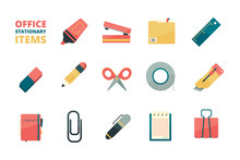 Stationary Items. Business Office Tools Paper Folder Pencil Eraser Pen Paper Clip Stapler Marker Vector Flat Icons Collection. Office Stationery Pen And Notebook Illustration