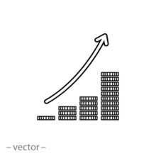 Graph With Coins Icon Vector