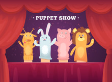 Puppet Show. Red Curtains Thea...