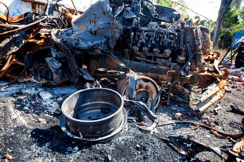 Valokuva  burnt military machinery, War actions aftermath, Ukraine and Donbass conflict