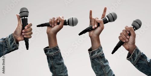 Set of hand holding microphone Fototapeta