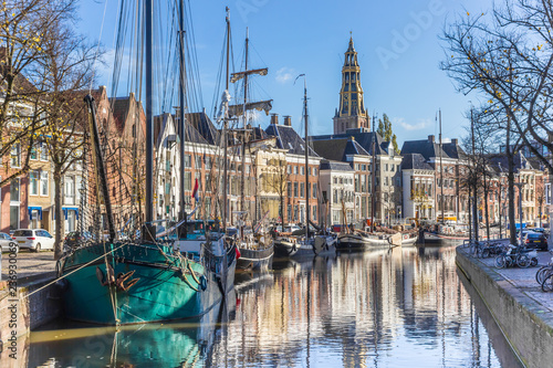 Historic ships in the Hoge der aa canal of Groningen, Netherlands Canvas-taulu