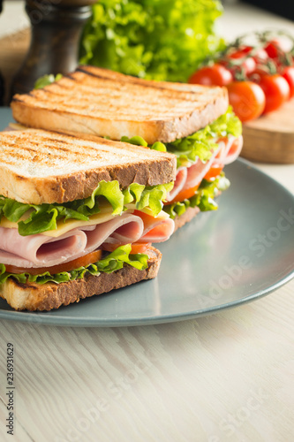 Keuken foto achterwand Snack Close-up of two sandwiches with bacon, salami, prosciutto and fresh vegetables on rustic wooden cutting board. Club sandwich concept.
