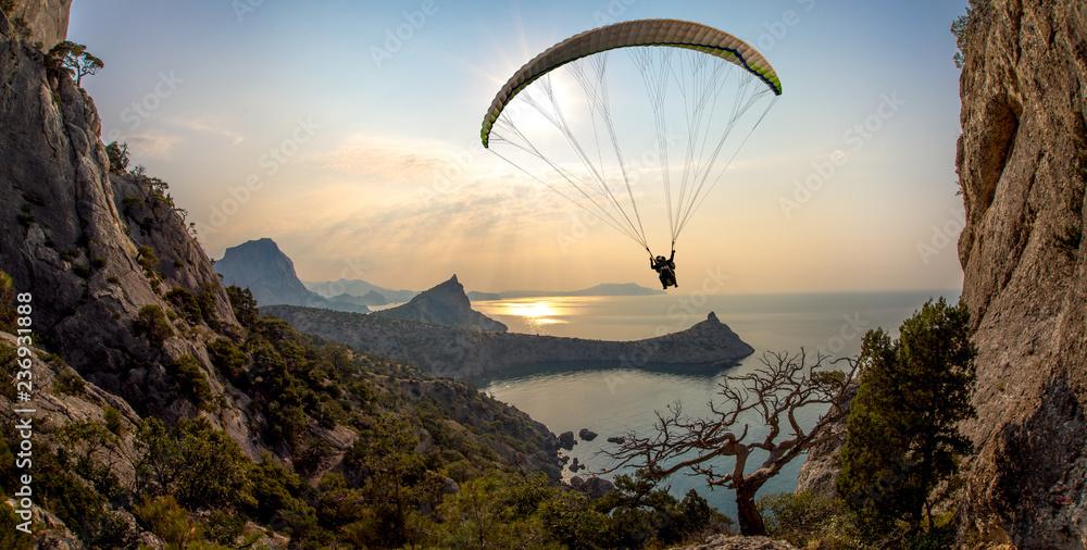 Fototapety, obrazy: flying on paraplane