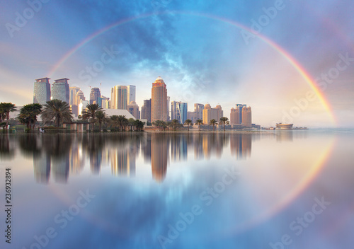 Fotografie, Obraz  Skyline of West Bay and Doha City Center during rainbow, Qatar