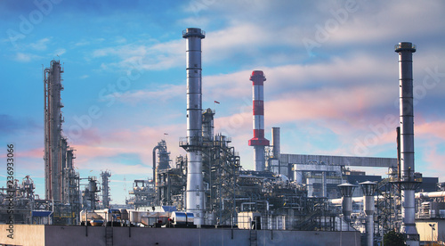 Fototapeta Oil and gas petrochemical plant, Industry factory obraz