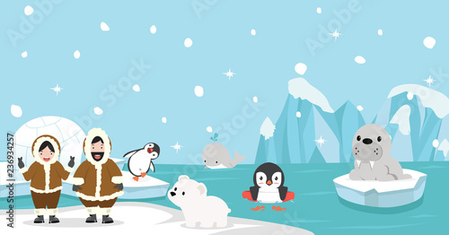 Eskimo with Artic animal background Wallpaper Mural