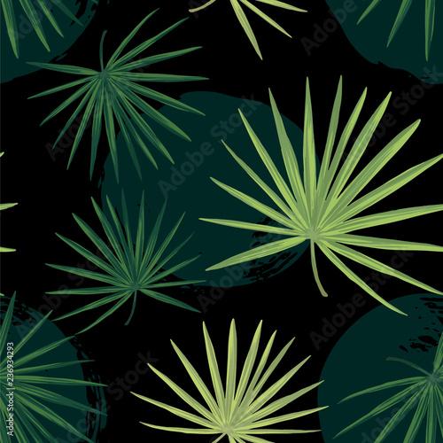ciemny-tropikalny-tlo-z-dzungli-roslinami-bezszwowy-wektorowy-tropikalny-wzor-z-zielonymi-palmowymi-liscmi