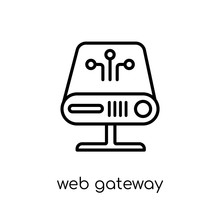 Web Gateway Icon. Trendy Modern Flat Linear Vector Web Gateway Icon On White Background From Thin Line Internet Security And Networking Collection