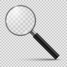 Realistic Magnifier. Glass Magnify, Zoom Tools Loupe Scrutiny Lens Optical Microscope. Realistic Isolated 3d Vector