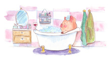 Cute Little Pink Piglet Taking A Foam Bath After A Long Workday. Bathroom Scene Illustration Painted In Watercolor On Clean White Background