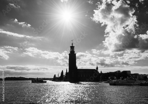 Foto auf Leinwand Stockholm Stockholm town hall. Scenic summer view of the Old Town in Stockholm, Sweden