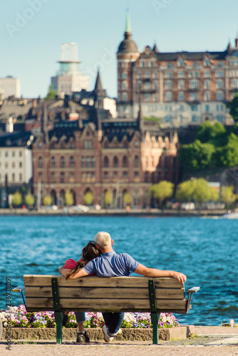 Foto auf Gartenposter Stockholm Scenic summer view of the Old Town pier architecture in Stockholm. Sweden
