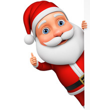 Cartoon Character Santa Claus Shows Thumb Up Looking Out From Behind A Blank Board. 3d Rendering. Illustration For Advertising.