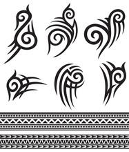 Tattoo Tribal Icons Set (design Elements)
