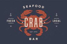 Crab, Seafood. Vintage Icon Cr...
