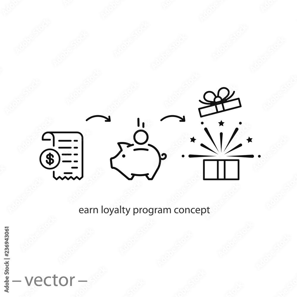 Fototapeta earn loyalty program concept icon vector