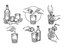 Mojito Drink Creation Instructions Engraving Vector Illustration. Scratch Board Style Imitation. Black And White Hand Drawn Image.