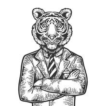 Tiger Head Businessman Engravi...