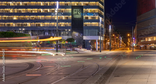 Light trails of a tram passing by