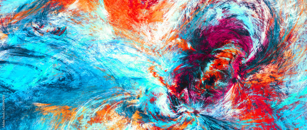 Fototapety, obrazy: Bright artistic splashes. Abstract painting color texture. Modern futuristic pattern. Blue, red and yellow dynamic background. Fractal artwork for creative graphic design