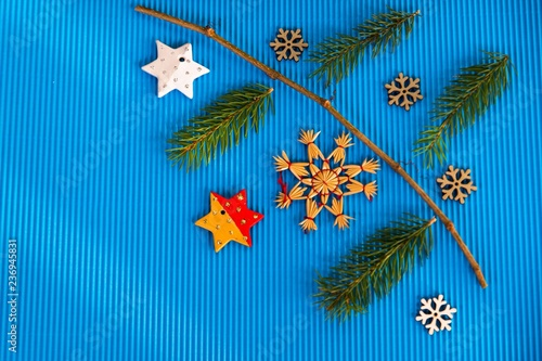 Fotografia  Blue composition with christmas decorations.
