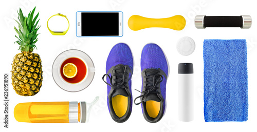 Top view of running shoes, healthy food and drink, sport accessories isolated on white background. Set of fitness equipment as design elements