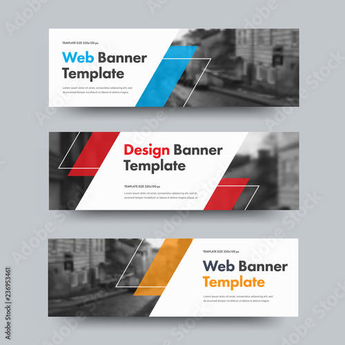 Canvas Template of vector horizontal web banners with diagonal color design elements and space for photo