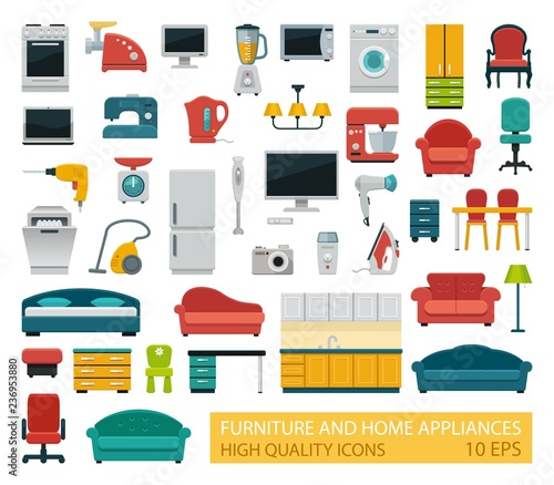Photo High quality icons of home appliances and furniture