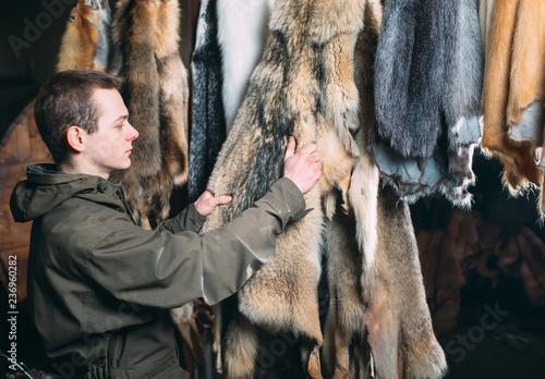 Fotografía  A young man hangs up the fur after treatment.