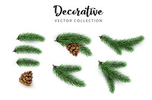 Set Of Green Decorative Fir Branches With Cones Isolated On White For Christmas And New Year Design.