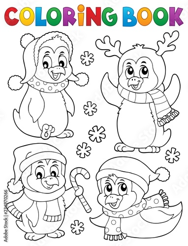 Coloring book Christmas penguins 2