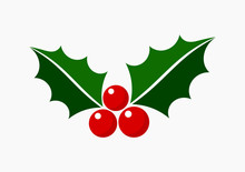 Christmas Holly Icon Symbol.