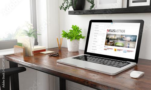 Fototapeta laptop at home office newsletter obraz