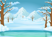 Winter Day Background. Frozen Lake Or River With Snow Covered Leafless Trees And Bushes. Snowy Mountains And Meadows In The Background.