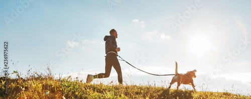 Canicross exercises. Man runs with his beagle dog at sunny morning. Healthy lifestyle concept. - 236975622