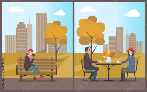 Photo Cafe with Table and Customers Couple Set Vector